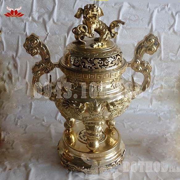 Hình ảnh Lư Hương Bằng Đồng Rồng Vàng Nổi