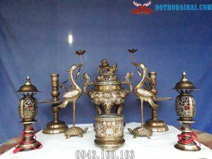 Chi tiết bộ Đồ Thờ Khảm Tam Khí gồm 8 món