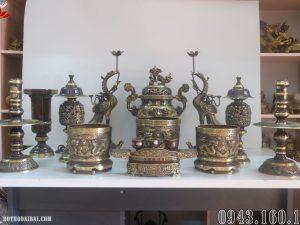 Bộ đồ thờ đầy đủ 12 món đồng hun 3D