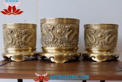 Bộ 3 Bát Hương Bằng Đồng Vàng – Màu Vàng Mộc